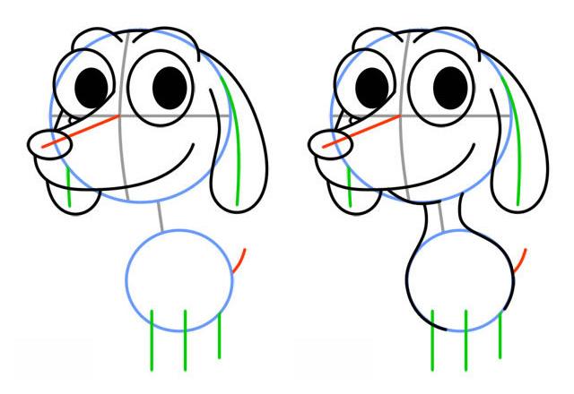 Как нарисовать милого щенка. Шаг 4. Рисуем уши, шею и тело