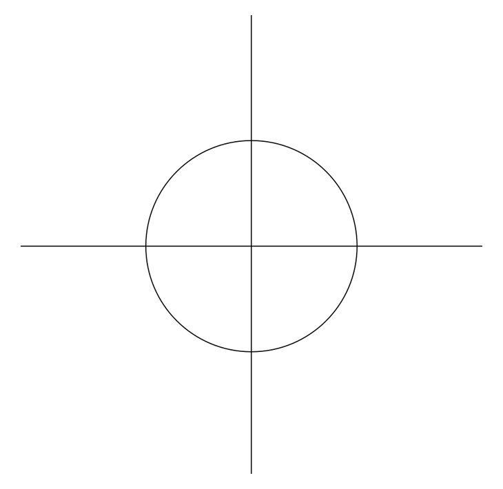 Как нарисовать звезду. Шаг 1. Основа звезды: круг и две пересекающиеся линии