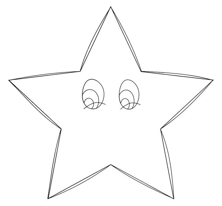 Как нарисовать звезду. Шаг 6. Рисуем скругленный контур и глаза