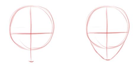 Рисуем линию подбородка и скулы, вид спереди