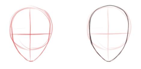 Обводим контуры формы головы, вид спереди