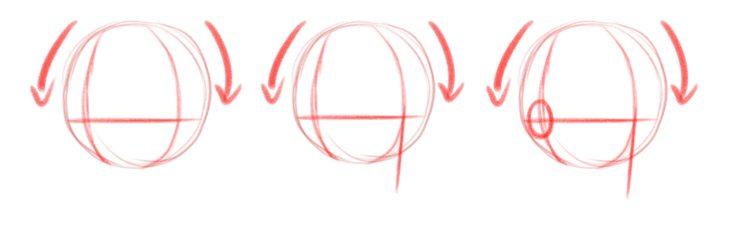 Добавляем вспомогательные линии подбородка и овал уха, вид в три четверти