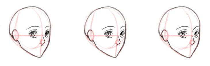 Рисуем нос, вид в три четверти