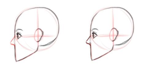 Рисуем нос, вид в профиль