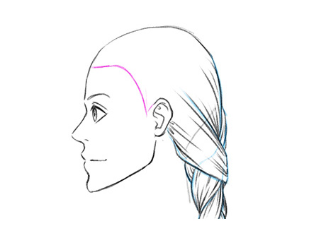 Рисуем косу детальнее