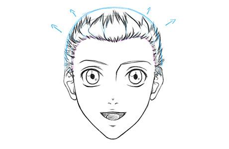 Рисуем вспомогательную линию в верхней части головы